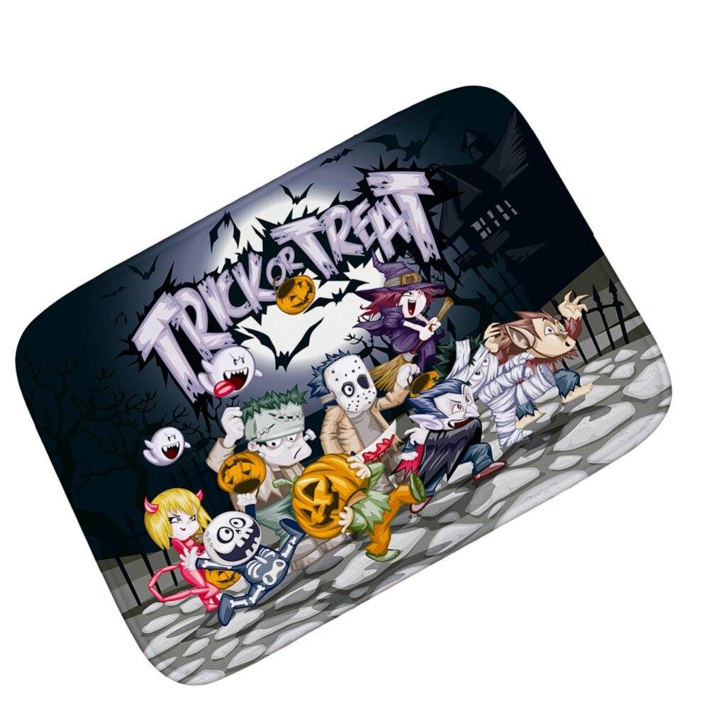 halloween party decor skull witch mat carpet soft flannel anti slip door mat rug absorbent bath mat kitchen floor mat