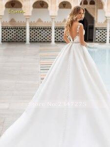 Image 2 - Loverxu robe de mariée Vintage, Sexy, dos nu, en Satin avec perles, robe de mariée élégante, avec des Appliques, ligne A, modèle 2020