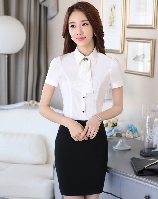 Novelty White Slim Fashion Professional Women Suits Tops And Skirt Business Work Wear Ladies Uniforms Female Shirts Clothing Set