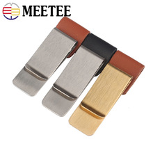 Meetee 1pc 20x55mm Metal Wallet Buckle Paper Banknotes Money Clips Stainless Steel Hook for Bag Belt Notebook Pen Holder BF224