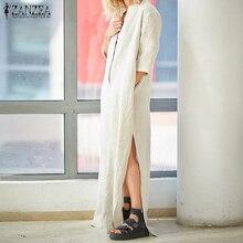 2018 ZANZEA Summer Vintage Women V Neck 1/2 Sleeve Casual Loose Cotton Linen Dress Vestido Solid Party Work Split Hem Sundress