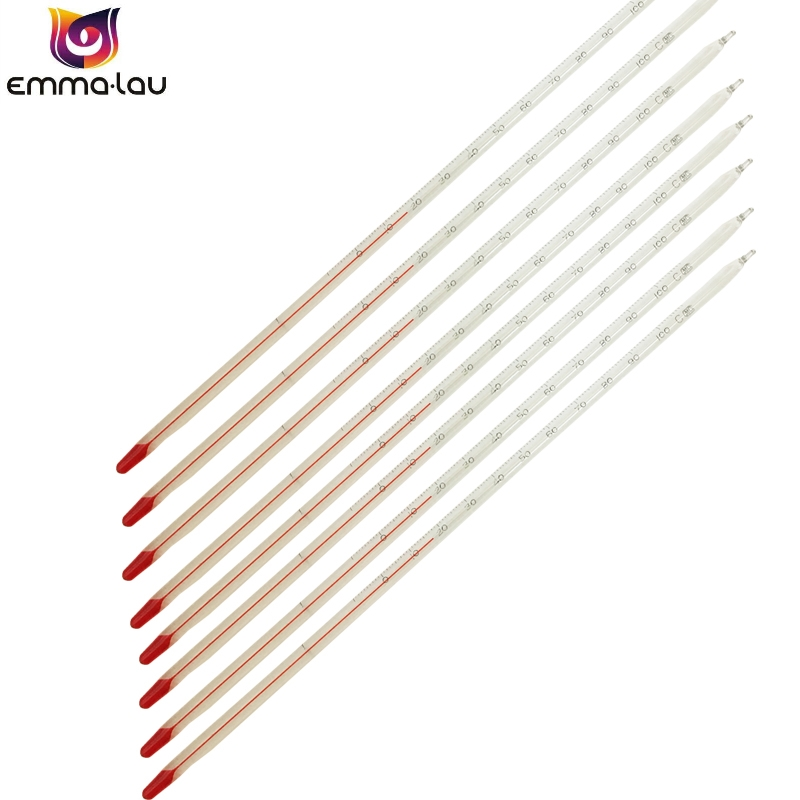 -30 to 100 Celsius Degree Glass Thermometer Red Spirit Liquid Basic Thermometer Total Immersion Laboratory School Home Use image