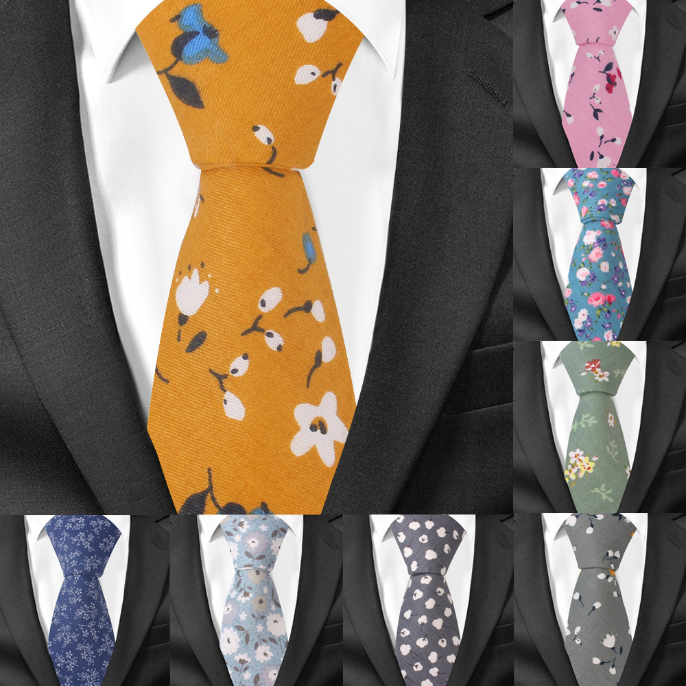 Fashion Floral Neck Ties For Men Casual Cotton Slim Tie Gravata Skinny Mens Neckties Spring Summer New Design Men Ties
