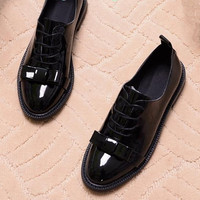 2016 Spring New Patent Leather Square Head Casual Boat Shoes Soft Bottom Flat Shoes Women Black