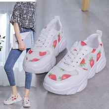 Liren 2019 Summer Strawberry Pattern New Air Mesh Lace-up Casual Women Sneakers Fashion Breathable Non-slip Vulcanize Shoes