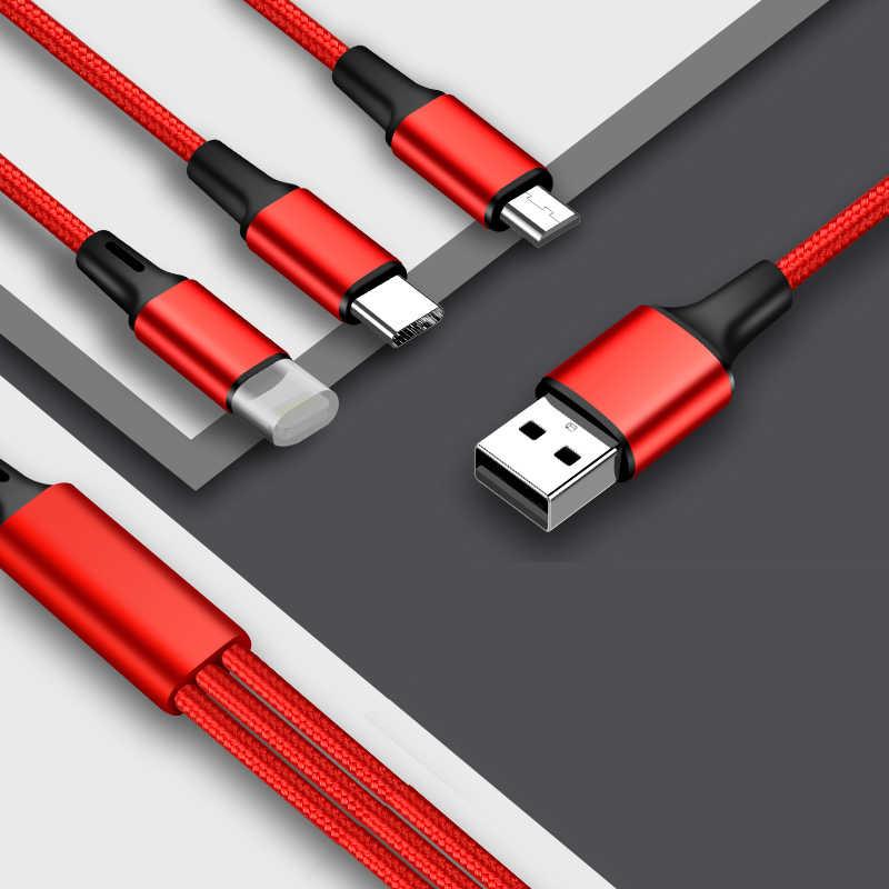 3 em 1 Tipo C/8 Pino/Cabo do Carregador Micro USB Port Usb Múltipla Usbc Cabo de Carregamento Móvel cabos Para Samsung s9 telefone huawei p30