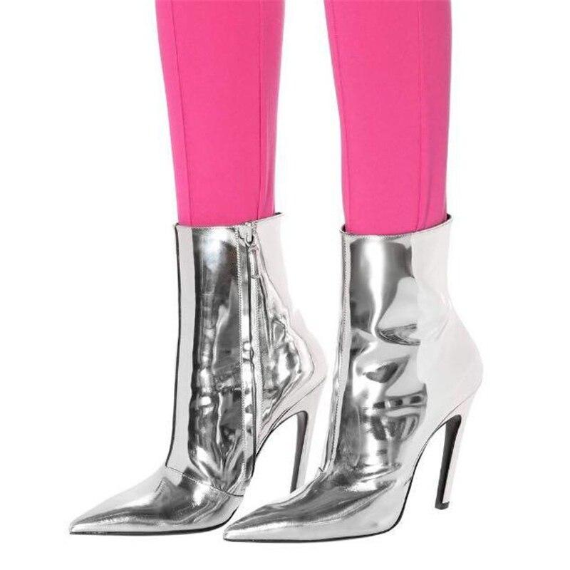 c b Charol Con Alto Mujer Delgadas Mujer Botas De Botines 2018 A Espejo Azules Piel Cortas Tacón Choo d Para Invierno Eunice vxwRqzw