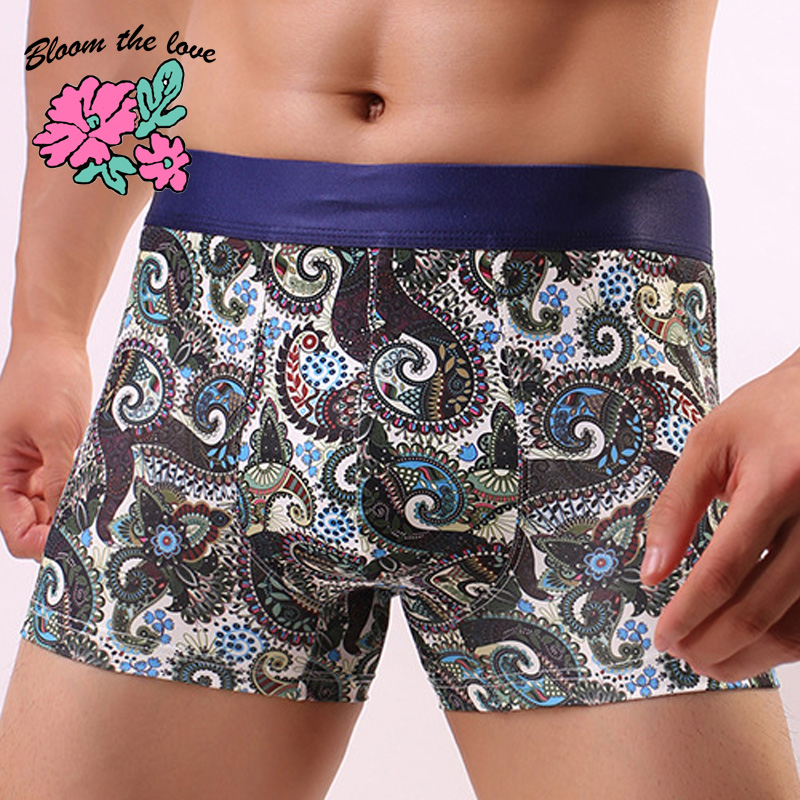 New Boxer Men Underwear Calzoncillo The Love Male Bloom Masculina Floral Cuecas 050302