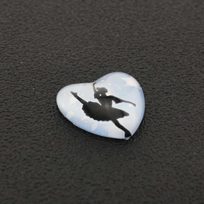 Tafree ginástica artística imagem coração forma de vidro cabochon estilo desportivo vaulting cavalo anéis equilíbrio feixe jóias