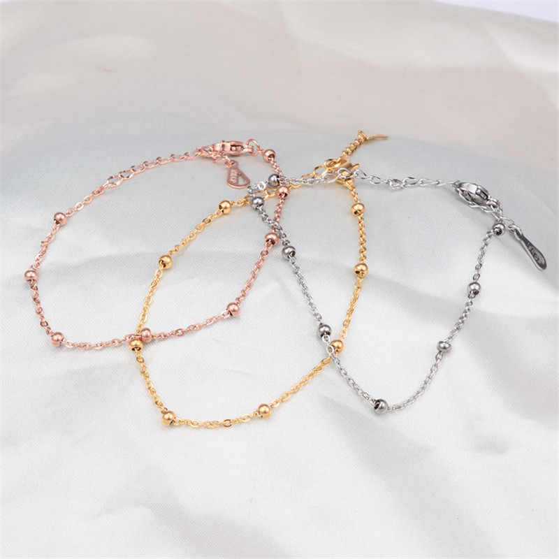 Martick Woman Gold/Rose Gold/Silver Color Bracelets Lobster Round Beads Chain Link Bracelets For Women Fashion Summer Style B241