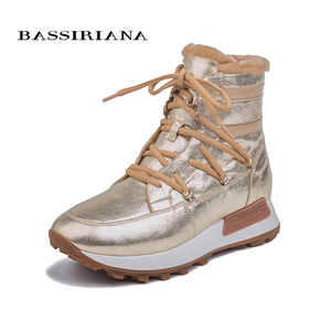Image 2 - BASSIRIANA new winter casual shoes with thick soles, ladies fashion natural leather natural fur shoes warm with flat sole