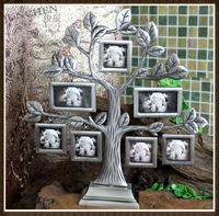 Happiness Family Tree Photo Frame Creative Tree Shaped Frame for 7 Photos Alloy Art Crafts Frame Home Decor Christmas Gift XC054
