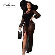 Echoine Sexy Bodycon Dress Women V-Neck Mesh Transparent Pleated High Split Long Maxi Sheath Club Curve  Vestido Woman Outerwear