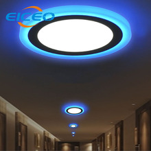 (EICEO) 2017 New Product Double Color LED Panel Light round/square 6w/9w/16w/24w Ceiling Lamp Recessed White+Blue Lights Lamps