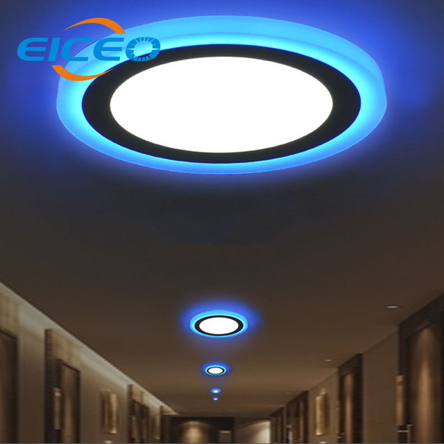 eiceo 2018 new product double color led panel light round square 6w 9w 16w 24w ceiling lamp. Black Bedroom Furniture Sets. Home Design Ideas