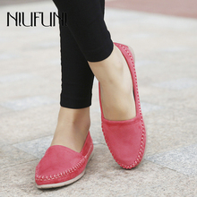 2019 NIUFUNI Autumn Women Leather Loafers Fashion Ballet Flats Shoes Woman Slip Ons Hemp Rope Boat Shallow Shoes Moccasins цена 2017