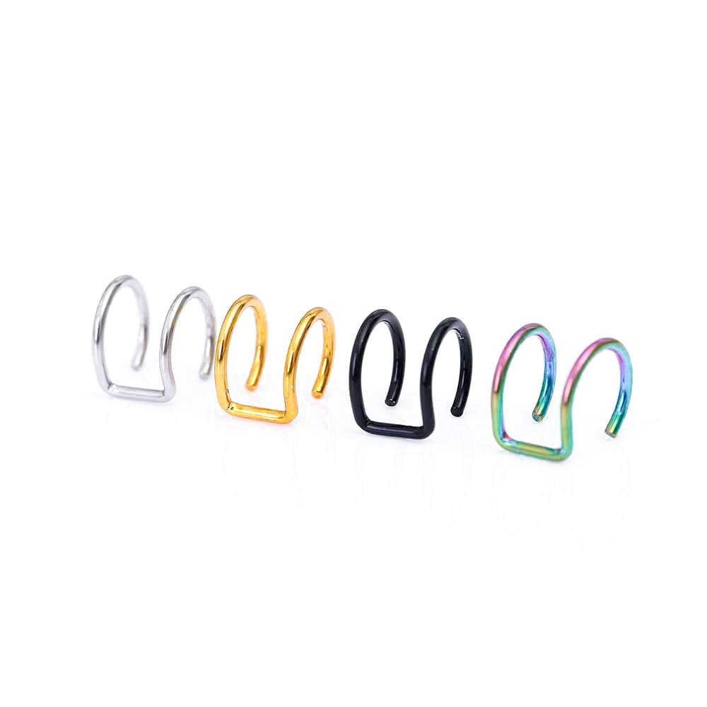 แฟชั่น 1 Pcs 4 สี Punk Rock สแตนเลสสตีลคลิปหู Cuff Wrap ต่างหูไม่มี piercing-Clip Hollow Out U รูปแบบเครื่องประดับหู