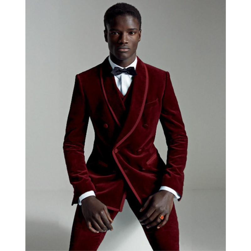 2018 Custom Made Winter Burgundy Velvet Suit Men Groom Blazer Slim Fit 3 Piece Prom Tuxedo Custom Wedding Suits