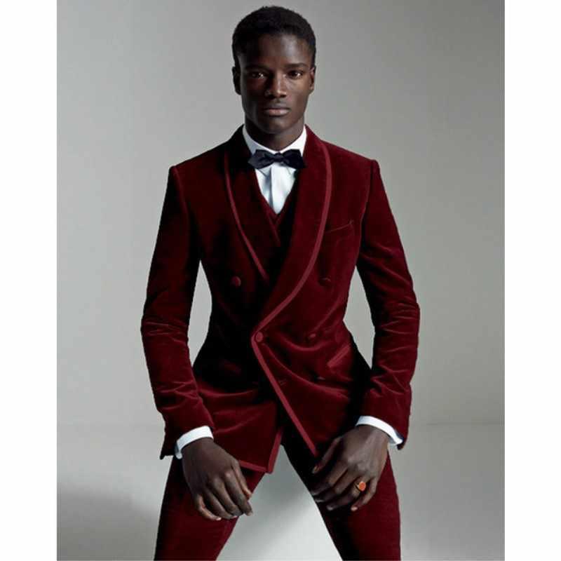 5adaefddbeeb Detail Feedback Questions about 2018 Custom Made Winter Burgundy Velvet Suit  Men Groom Blazer Slim Fit 3 Piece Prom Tuxedo Custom Wedding Suits on ...