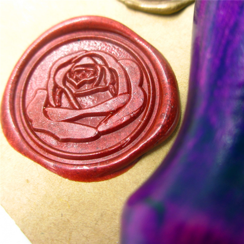 Rose flower design Initial customize your logo Name Box set personalized Letter/Sealing Wax /wedding Wax Seal Stamp Gold  Custom name of rose hb