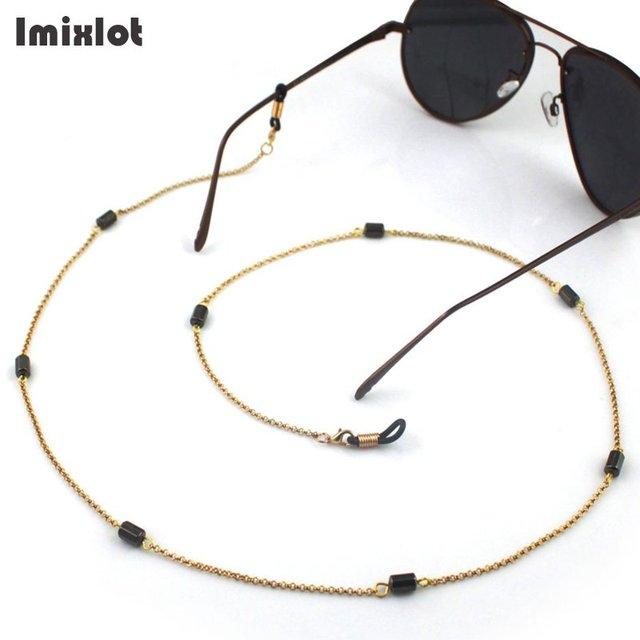 ed582bd2216 Imixlot Black Beads Charm Reading Glasses Anti-slip Chain Cords Holder Sunglasses  Spectacles Metal Chain Eyewear Accessories