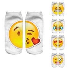 New 3D Emoji Meias Das Mulheres Da Forma Dos Homens de Impressão Único Lado Meias de algodão Unisex Meias Padrão Meias Feminina Engraçado Baixo Tornozelo meias(China (Mainland))
