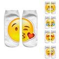 Nueva 3D Emoji Calcetines Mujeres Moda de Impresión de Un Solo Lado de Los Hombres Calcetines de algodón Unisex Calcetines Patrón Divertido Bajo Tobillo Meias Feminina calcetines