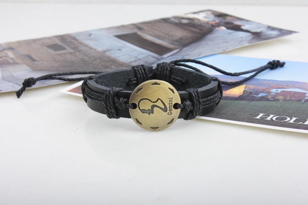 (12 шт./лот) черный кожаный Leo Taurus Рак Козерог Овен Близнецы Дева весы Скорпион рыбы Водолей Стрелец браслет