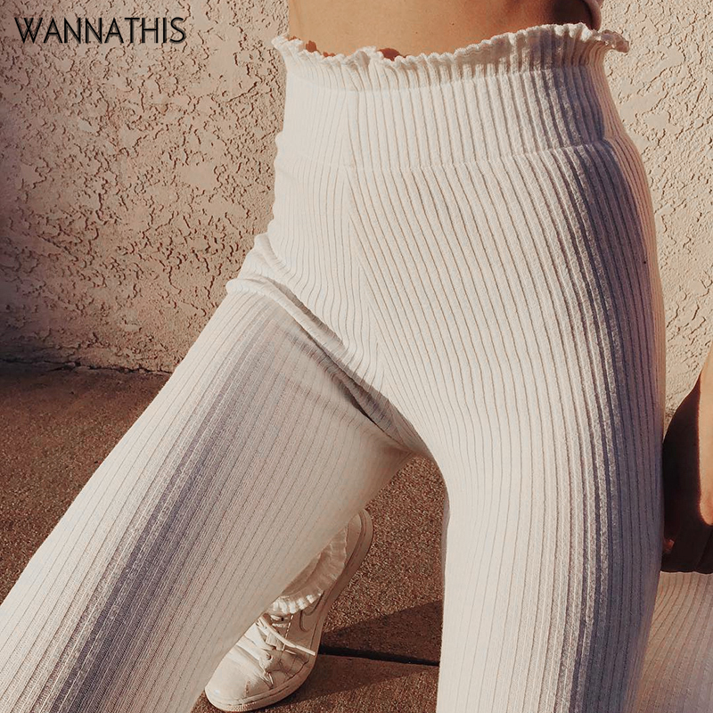 WannaThis Women Pencil Pants 2019 Autumn Ruffles Elegant White Slim Casual Female Stretch Trousers White Leggings Ribbed Knitted