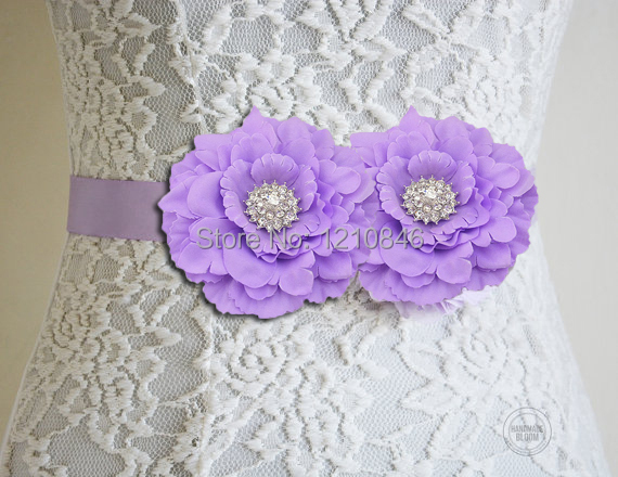 Bridal Lavender Double Peony Flower Sash Belt Vintage Inspired