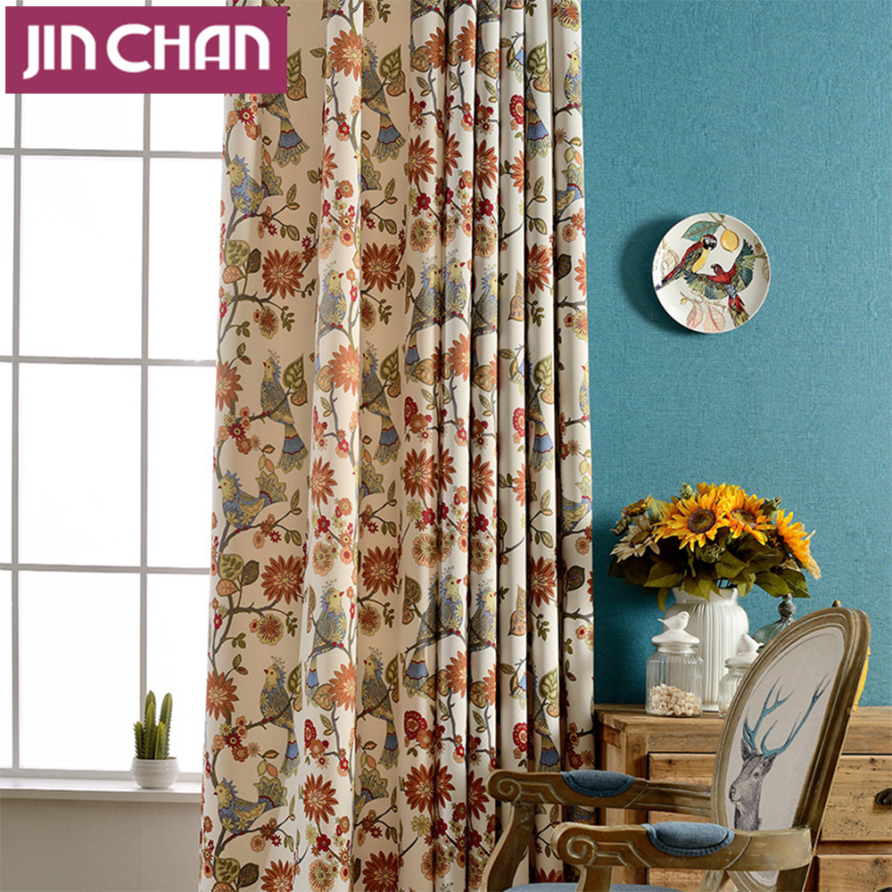 European style flower and bird printing window curtains - European style curtains for living room ...