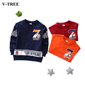 V-TREE Boys  Long Sleeve T-shirt For Spring Wear Kids Digital Striped Tops Blue Red Orange Children Clothes For 2-8 Years Old