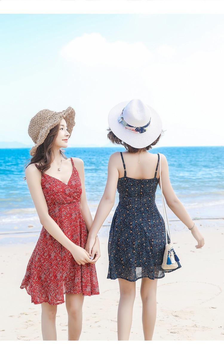 2019 nouveau style robe été tempérament en mousseline de soie sexy floral licou femme hainan sanya plage