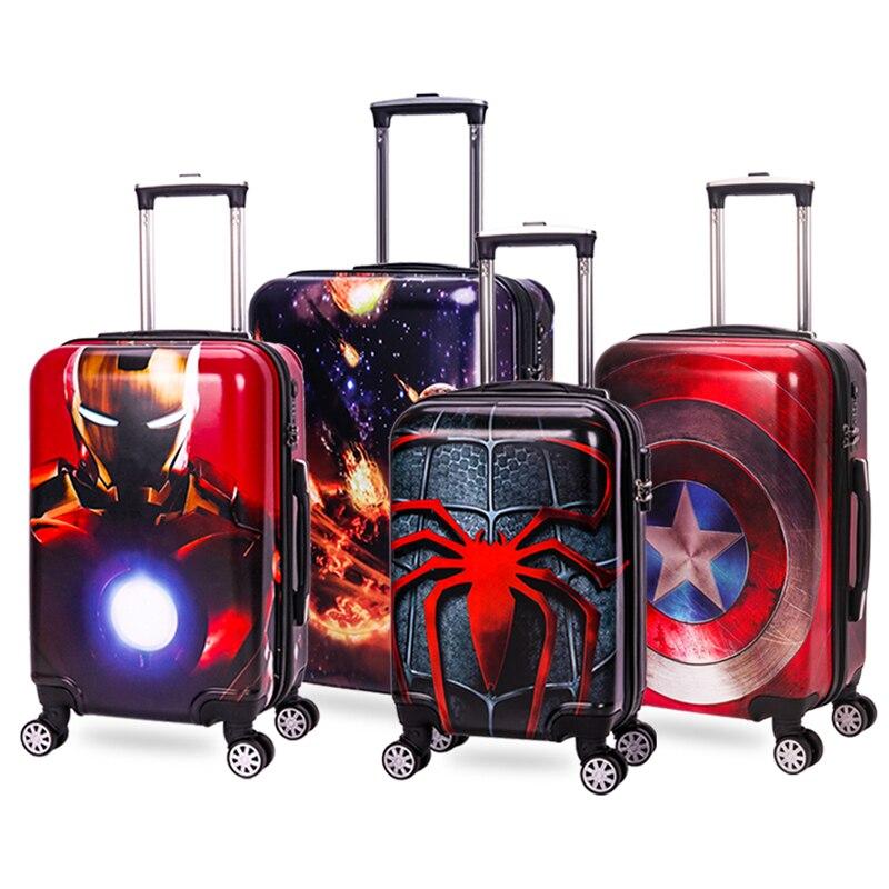 20 24 inch Zipper frame Cartoon travel bag malas de viagem com rodinhas Anime trolley suitcase