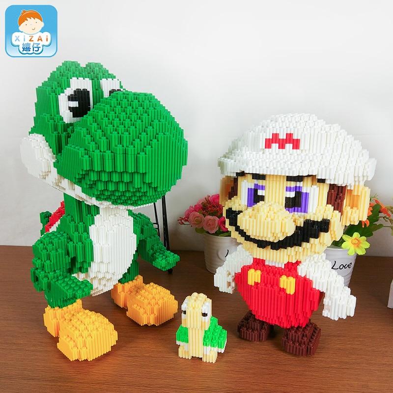 Xizai Big size connection Blocks Luigi Cartoon Assembly Building Toys Anime Model Toy brinquedo Mario Juguete Kids Toy Xmas Gift