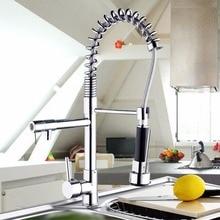 Torneira Cozinha хром латунь двойные Изливы 360 градусов и вытащить Кухня кран. Кухня Смеситель для мойки 97168