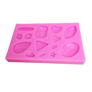 Image 3 - M0174 미니 보석 다이아몬드 모양의 퐁당 케이크 초콜릿 도구 캔디 실리콘 몰드 몰드