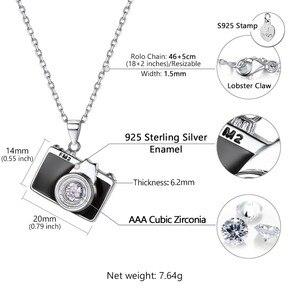 Image 4 - U7 925 Sterling Silver Camera Black Enamel CZ Pendant Necklace for Women Bridesmaid Photographer Gift 2018 New Fashion Design