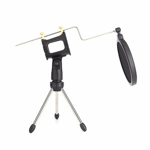 Image 4 - Metal Extendable Microphone Tripod Stand Boom Arm Microphone Bracket Folding with Shock Mount Mic Holder Clip and Filter