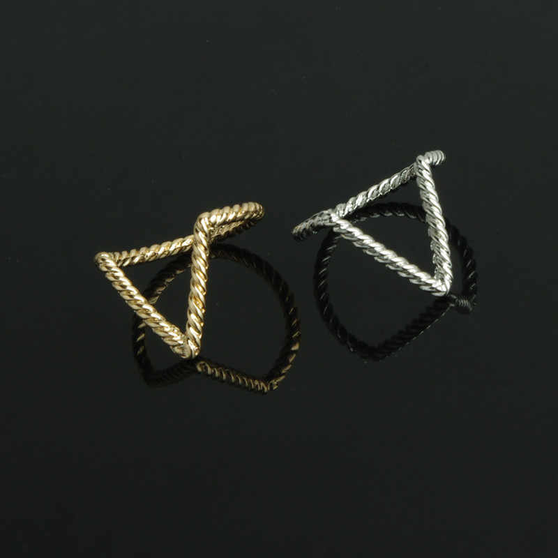 European and American trade jewelry simple dual V-shaped ring female Personalized Ring Jewelry wholesale
