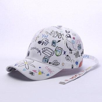 Gorras de béisbol Snapback Graffiti personalizadas retazos Blanco y Negro  hombres mujeres Hip Hop Cap moda Casual sombrero ventas calientes 42849a3436a