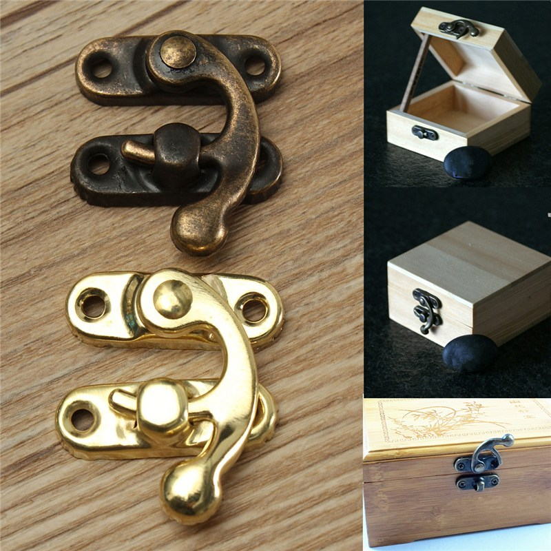 12PCS/Lot Small Antique Metal Lock Catch Curved Buckle Horn Lock Clasp Hook Bag Accessories DIY Handbag Locks Closure With Screw
