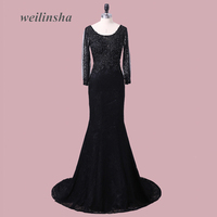 ADLN Elegant Black Long Sleeves Lace Evening Dresses Scoop Neck Mermaid Evening Party Gowns Back Lace