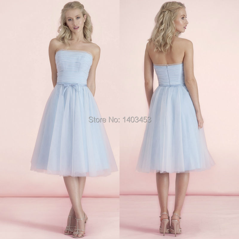 Kelsey Rose 2015 New Pastel Blue Aqua Cream Strapless Tulle A Line