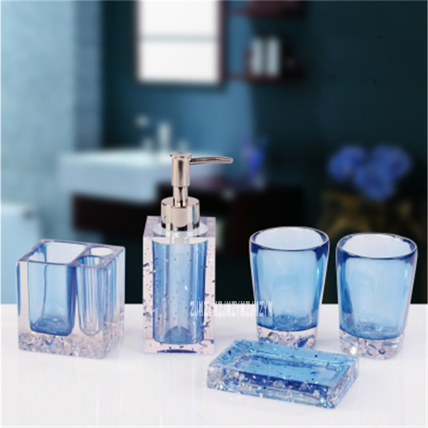 New Hot 5pcs Bath Set Resin Bathroom Accessories Set Soap Dish Toothbrush Holder Lotion Dispenser Tumbler Bathroom Supplies Set