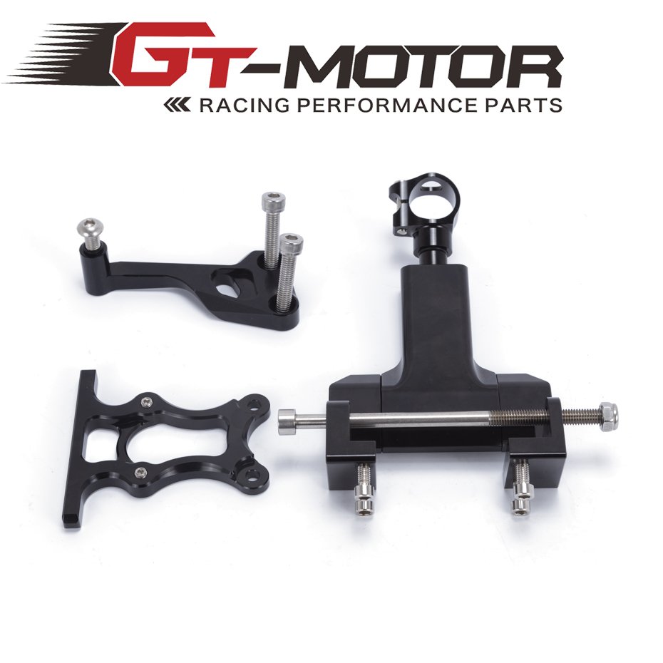 GT Motor - FREE SHIPPING black color Adjustable  Steering  Damper with Bracket Mount kit For YAMAHA MT07 FZ07 2014-2017 motor bracket mba type mba15 mba15 f black for fk15