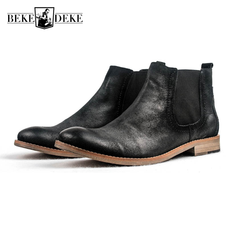 Top Quality Brand European Winter Mens Cow Genuine Leather Round Toe Slip On New Fashion Low Heel Chelsea Boots Male Ankle Shoes 2018 fashion cow leather zipper superstar winter boots women round toe low heel solid concise pregnant chelsea ankle boots l08