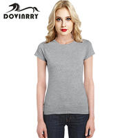 DOVINRRY 2017 New Summer T Shirt Women Short Sleeve Cotton Tshirt Female Solid Fashion Top Tees