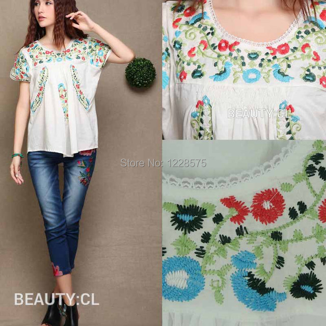 d5931c3d7beb01 Free shipping fashional 2015 women blouses mexican blouse embroidered  peasant blouse ladies floral tops white blouses online UK