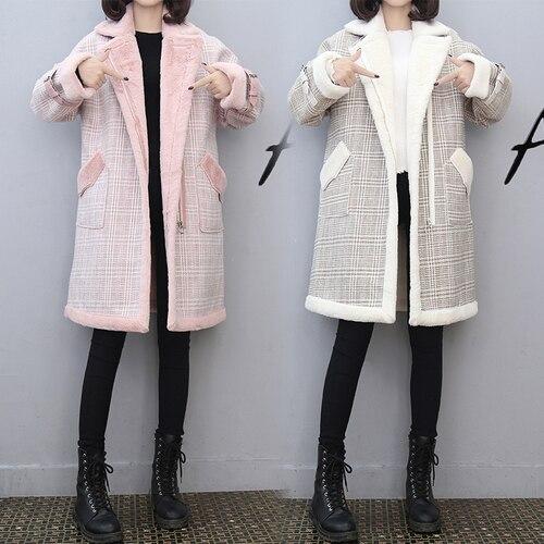 Carreaux Vêtements Manteau Long Trench En Féminins rose Pour Laine Épaissi À Feminino Coton Casaco Beige Les Élégant Rembourré Femmes Cardigan Vent fwznqp